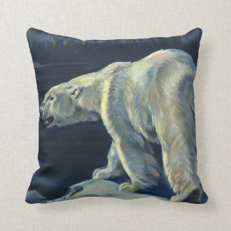 Vintage Polar Bear, Arctic Marine Life Animals Throw Pillow
