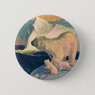 Vintage Polar Bears on Iceberg, Wild Arctic Animal 2 Inch Round Button