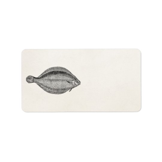 Vintage Pole Flounder Fish Personalized Template Label
