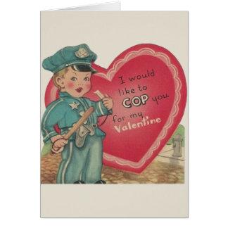 Vintage Police Officer Valentine Greeting Card