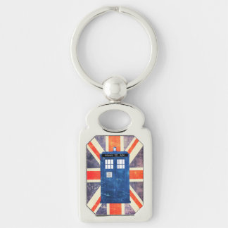 Vintage police phone box Union Jack flag Silver-Colored Rectangle Keychain