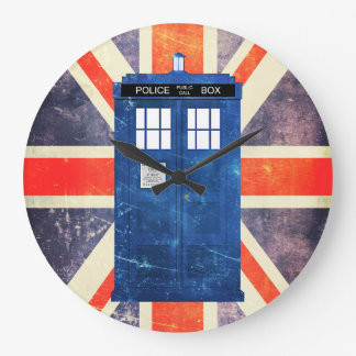 Vintage police phone box Union Jack flag Wall Clock