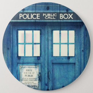Vintage Police phone Public Call Box 6 Inch Round Button