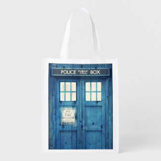 Vintage Police phone Public Call Box Reusable Grocery Bags
