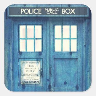 Vintage Police phone Public Call Box Square Sticker