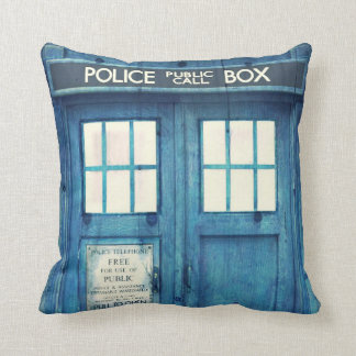 Vintage Police phone Public Call Box Throw Pillow