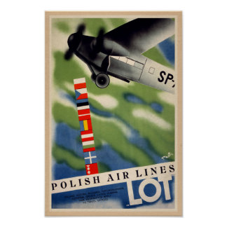 Vintage Polish Air Travel Ad Poster
