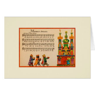 Vintage Polish Christmas Carol Greeting Card