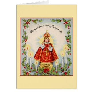 Vintage Polish Infant of Prague Christmas Card