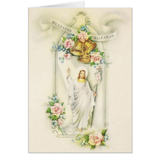 Vintage Polish Risen Lord Easter Greeting Card
