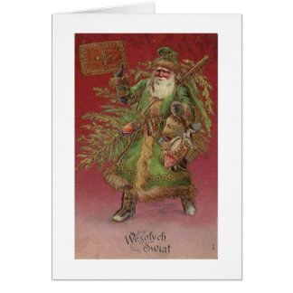 Vintage Polish Santa Christmas Greeting Card