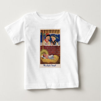 Vintage Polish Wesołyeh Świąt Christmas Retro Art Baby T-Shirt