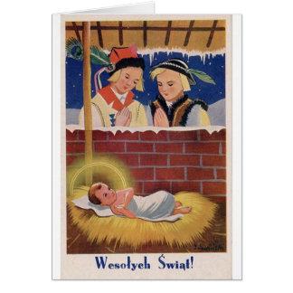 Vintage Polish Wesołyeh Świąt Christmas Retro Art Card