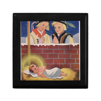 Vintage Polish Wesołyeh Świąt Christmas Retro Art Gift Box