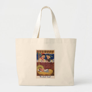 Vintage Polish Wesołyeh Świąt Christmas Retro Art Large Tote Bag