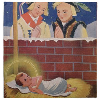 Vintage Polish Wesołyeh Świąt Christmas Retro Art Napkin