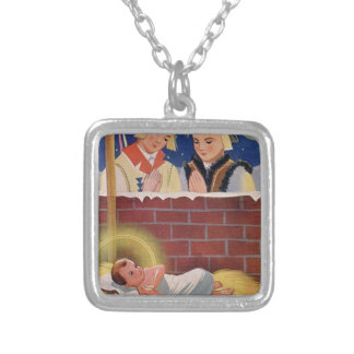 Vintage Polish Wesołyeh Świąt Christmas Retro Art Silver Plated Necklace