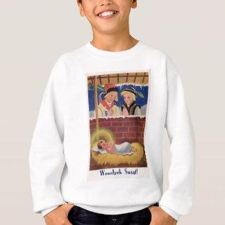 Vintage Polish Wesołyeh Świąt Christmas Retro Art Sweatshirt