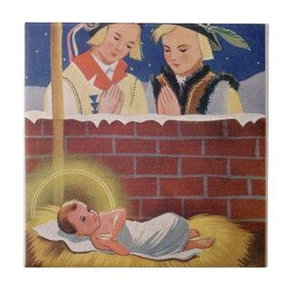 Vintage Polish Wesołyeh Świąt Christmas Retro Art Tile