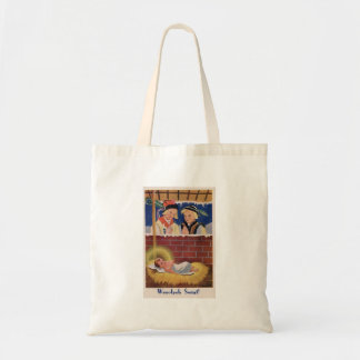 Vintage Polish Wesołyeh Świąt Christmas Retro Art Tote Bag