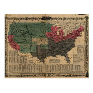 Vintage Political Map of The United States (1856) Postcard