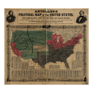 Vintage Political Map of The United States (1856) Poster