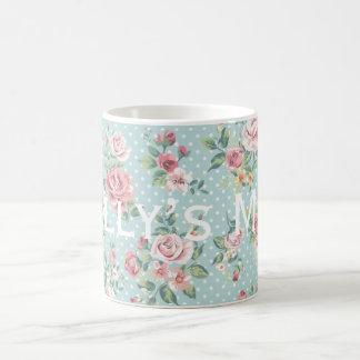 Vintage Polka Dot Roses Pattern Personnalised Coffee Mug