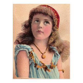 Vintage Pondering Girl Postcard