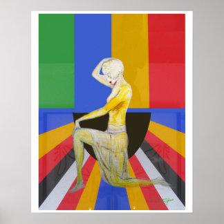 Vintage popart showgirl dancer poster