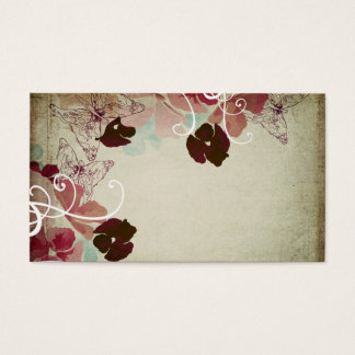 Vintage poppies and butterflies business cards