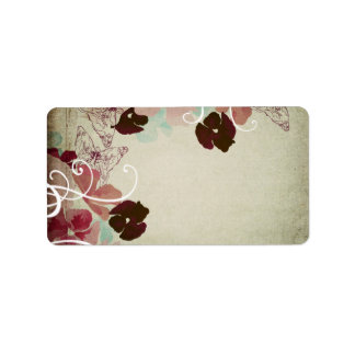 Vintage poppies and butterflies labels
