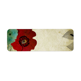Vintage poppies Avery Label Return Address Label