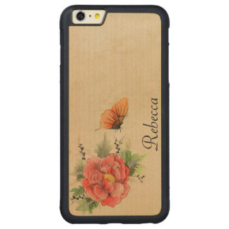 Vintage Poppy and Butterfly Carved Maple iPhone 6 Plus Bumper Case