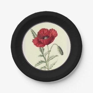 Vintage-Poppy-Art_Gem-Inner-Circle--Stylish-Black Paper Plate