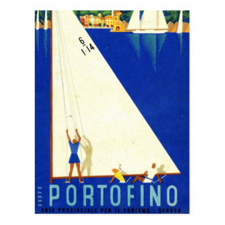Vintage Portofino Blue Sea White Sailboats Tourism Postcard