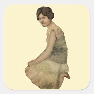 Vintage portrait DIY Mixed Media Ephemera Square Sticker