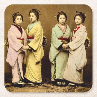 Vintage Portrait of Four Geisha Old Japan Square Paper Coaster