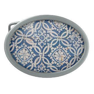 Vintage portuguese azulejo belt buckle