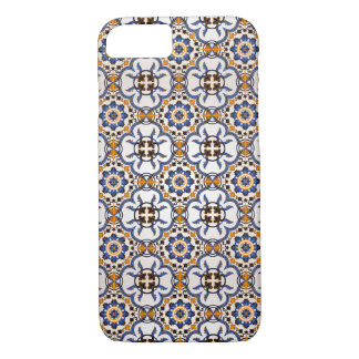 Vintage Portuguese Azulejo Blue Yellow Pattern Case-Mate iPhone Case