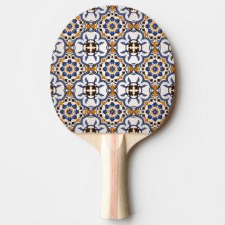 Vintage Portuguese Azulejo Blue Yellow Pattern Ping Pong Paddle
