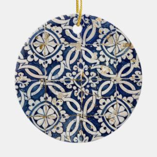 Vintage Portuguese Azulejo Ceramic Ornament