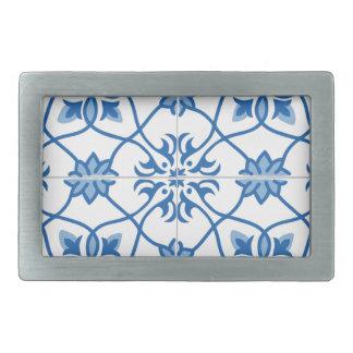 Vintage Portuguese Azulejo Tile Pattern Belt Buckles