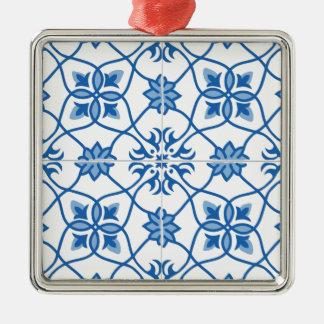 Vintage Portuguese Azulejo Tile Pattern Metal Ornament