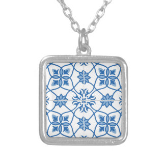Vintage Portuguese Azulejo Tile Pattern Silver Plated Necklace