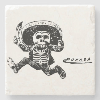 Vintage Posada Mexican Skeleton Knife Stone Coaster