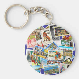 Vintage Post Card Collage Keychain