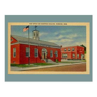 Vintage Post Office, Makepeace Bldg., Wareham, MA Postcard