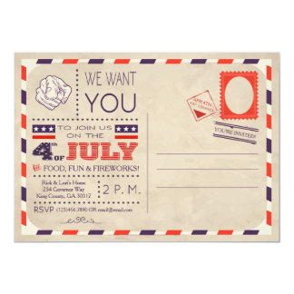 Vintage Postcard 4th of July Invitation