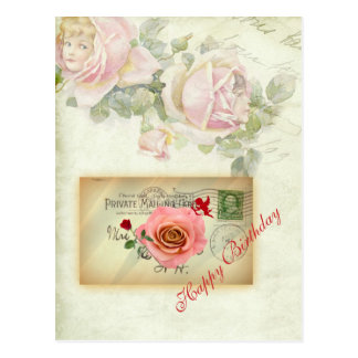Vintage Postcard Collage Pink Roses and Cupid