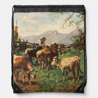 Vintage Postcard, Farmer Herding Cows Drawstring Backpacks